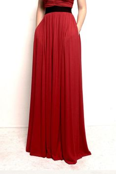 BELLE  Red Pleated Maxi Skirt w Pockets by FROCKLosAngeles on Etsy, $88.50