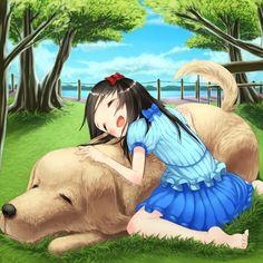 ✮ ANIME ART ✮ animals. . .anime girl with animal. . .big dog. . .girl. . .hug. . .park. . .nature. . .trees. . .sky. . .cute. . .kawaii