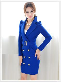 Morpheus Boutique  - Blue Double Breasted Long Sleeve Wool Lady Overcoat