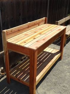 Garden Work Bench 5 Foot Cedar Potting Bench Custom Made No need to back break Wrought Iron Bench, Potting Tables, Garden Storage Shed, Farmhouse Garden, Pallets Garden, Garden Benches, Patio Planters, Work Benches, Porches