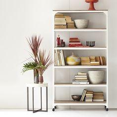 whitewashed wood + metal shelves