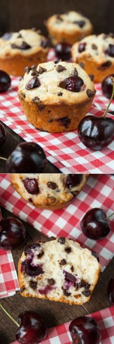 CHERRY CHOCOLATE CHIP MUFFINS Fresh juicy cherries and mini chocolate chips in a soft, fluffy and buttery muffin. These delicious muffins ar. An awesome collection of FREE cherry recipes and tips. Zucchini Muffins, Muffins Blueberry, Chocolate Chip Muffins, Chocolate Chips, Chocolate Cheesecake, Cherry Desserts, Cherry Recipes, No Bake Desserts, Dessert Recipes