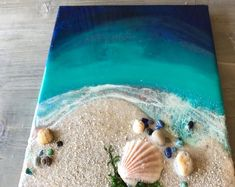 Art inspired by nature and texture. by BloomingKStudio on Etsy - Art Art Projects Id . - Art inspired by nature and texture. by BloomingKStudio on Etsy – Art Art Projects Ideas – - Seashell Art, Seashell Crafts, Beach Crafts, Crafts With Seashells, Seashell Projects, 3 Piece Canvas Art, 3 Piece Painting, Mixed Media Painting, Mixed Media Art