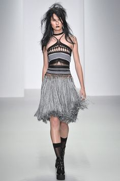 Mark Fast Spring 2014 RTW. crochet. black and grey. fringe. gypsy. sheer stockings. #MarkFast #Spring2014 #LFW