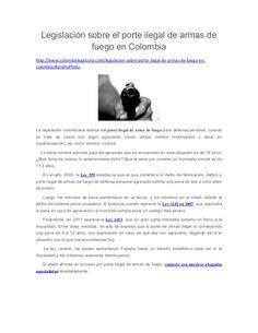 Legislación sobre el porte ilegal de armas de fuego en Colombia