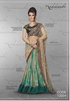 Nakkashi Exclusive turquoise blue Coloured Fancy Designer Saree