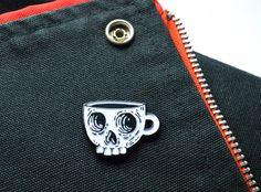 Coffee Skull Enamel Pin - Glow in the dark lapel pin