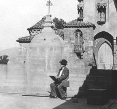 William A. Sharp sketching at the Mission Inn Riverside CA