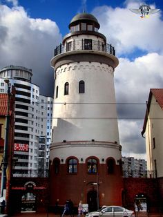 Russia, Kaliningrad. Lighthouse in the middle of a fishing village that is also a cafe with an observation deck on the second floor!