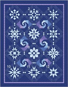 "This would be so helpful if I do a ""Frozen"" quilt for S. - New Quilt Pattern Snow Stormy Night Blocks Sampler Quilts, Star Quilts, Quilt Blocks, Panel Quilts, Quilting Projects, Quilting Designs, Sewing Projects, Snowflake Quilt, Snowflakes"