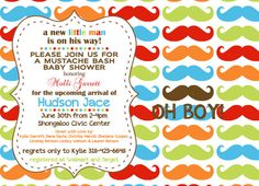 Mustache Bash Customized Baby Shower Invitation, Birthday Party, Colorful Mustache Party,  JPEG 5x7, Digital File for e-mail or print