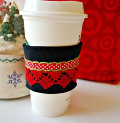 Coffee Cozy Christmas Holiday Coffee Cozy by CinnamonStixSundries