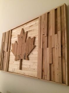 Canadian Woodworking, Woodworking Projects, Wooden Wall Art, Wood Art, Wooden Signs, Diy Wood Projects, Wood Crafts, Wood Flag, Wood Mosaic
