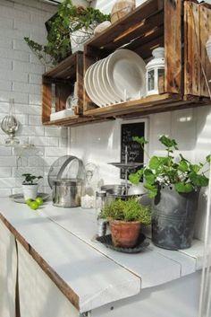 Wall mounted shelves DIY pallet kitchen furniture. #wallpalletkitchenfurniture