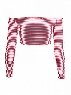 Shop Red Stripe Off Shoulder Long Sleeve Ribbed Crop Top from choies.com .Free shipping Worldwide.$11.99