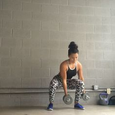 Total Body Workout I'm using 10lb Dumbbells - 1. Squat Curls (squat w/ one weight in between legs & one weight outside other leg, then stand & curl both weights, alternate bottom position of weights) 10 Reps - -