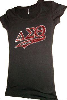 DELTA SIGMA THETA  Sorority Rhinestone Tshirt. $23.99, via Etsy.