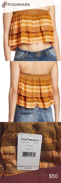 "Free People Indian Summer Tube Top Orange striped tube top has tiered construction for a ""ruffle"" effect. Bandeau neck, lined, approx. 10.5"" length. Shell is 100% rayon and lining is 94% cotton 6% spandex. Free People Tops Crop Tops"