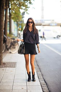 skirt, fall fashions, stockholm, outfit, black boots, street styles, plaid shirts, fall styles, combat boots