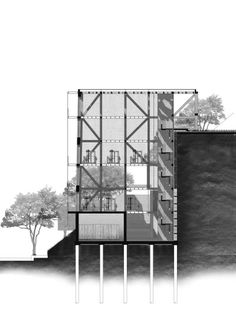 Section of workshop tower, this sheet was done for my finalportfolio review. Creating this drawing was really timeconsumingand I'm might use a simpler rendering method for my semester two project,consideringthat we only have about 1month left.