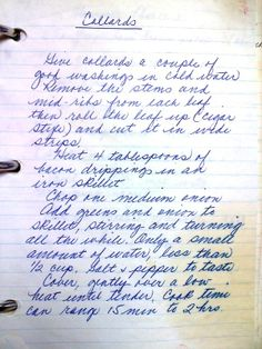 Handwritten recipe for Collard Greens