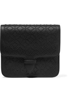 Black textured-leather Tab-fastening front flap  Weighs approximately 1.5lbs/ 0.7kg Made in Italy