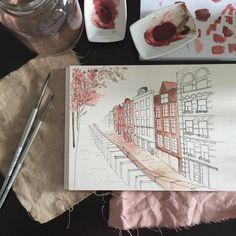 Currently. #workingprogress #watercolor #citysketch #penandink #blushtones #Amsterdam