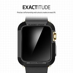 Amazon.com: Spigen Rugged Armor Apple Watch Case with Resilient Shock Absorption and 2 Screen Protectors Included for 42mm Apple Watch Series 2 / 1 / Original (2015) - Black: Cell Phones & Accessories
