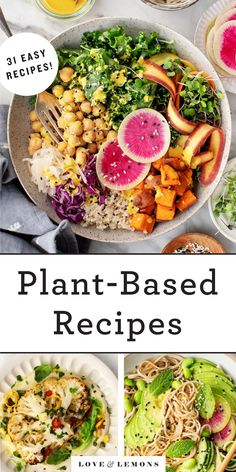 Everyone will love these easy plant-based recipes! Made with whole foods ingredients, they're healthy, satisfying, and delicious. Find tasty ideas for veggie burgers, noodles, creamy soups, and more! | Love and Lemons #plantbased #vegan #dinnerideas #recipe Best Vegan Recipes, Whole Food Recipes, Diet Recipes, Vegetarian Recipes, Favorite Recipes, Healthy Recipes, Healthy Foods, Healthy Eating, Healthy Heart