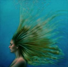 Michelle Osman, ive always loved how things look underwater. especially people, the way their hair just spreads out... i dont know why but i just love it. and this painting and her others like it fascinate me