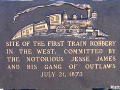 jesse james first train robbery | Adair, Iowa : Monument to the First Train Robbery in the West