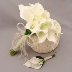 Calla+Lily+Bridal+Bouquet | Real Touch Calla Lily Bridal Bouquet Groom's Boutonniere in White w ...