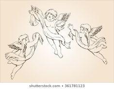 Hand Drawn Sketch 3 Cute Little Stock Image Ange Tattoo, Angel Tattoo Drawings, Cupid Tattoo, Tattoo Sketches, Cupid Drawing, Angel Drawing, Tribal Tattoos, Body Art Tattoos, Dreamcatcher Tattoos