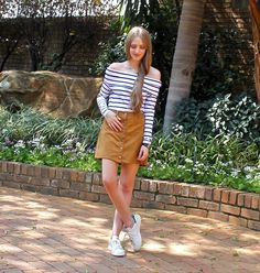 Button Skirt- Fashionable Passion #buttonskirt #suede #stripes #womensfashion #Streetstyle #outfit #fashionablepassion