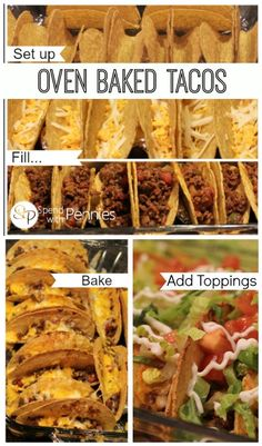 Awesome and easy Oven Baked Tacos!  This is the best way to serve tacos to your family because it's SO easy!
