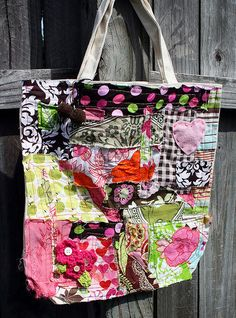hey-  maybe I could make this- don't sew, but it looks fairly easy-  Store-bought tote and fabric scraps.