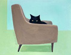 Cat on mid century chair  pigment print