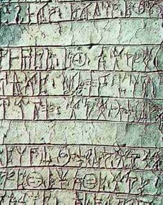 A Linear B tablet from the Mycenaean town, Pylos.