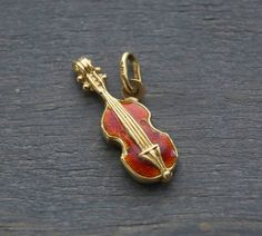 Vintage 18k Yellow Gold 3D Enamel Violin Charm Pendant - Cello, Viola - Italian 1960s by MintAndMade