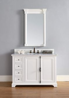 """Providence 48"""" Cottage White Single Vanity with 2 CM Carrara White Marble Top"""