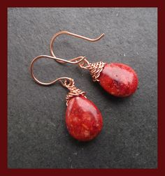 striking Red Coral pear drops suspended from fancy copper wirework and hnnd forged copper earwires These earrings match the shawl pin listed separately I have included a photo of the earrings and pin together but this listing is for the earrings only . Pear Drops, Copper Red, Red Coral, Lovely Things, Handcrafted Jewelry, Jewelry Crafts, October, Challenge, Fancy