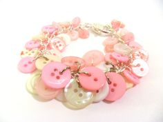 Baby Pink & White Button Jewellery Set