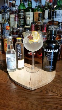 Bulldog gin is distilled in England using a traditional pot still but unconventional botanicals such as dragon eye, poppy and lotus leaves. Other, more conventional botanicals include lemon peel, almond, cassia, lavender, orris, liquorice, angelica, coriander and, of course, juniper. At The Horns we like it as a G&T with Fever-Tree Or 1724 tonic garnished with Star Anise and a slice of Orange Bulldog themselves recommend a twist of lime instead. You decide how you like it