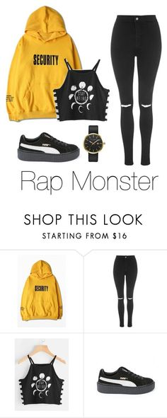 """Fan signing with Rap Monster"" by infires-jhope ❤ liked on Polyvore featuring WithChic, Topshop, Puma and Ted Baker"