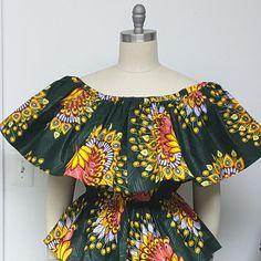 Africain impression Off-Shoulder Top. Peplum. Top dAnkara.