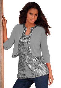 Denim 24/7 Women's Plus Size Sequin Trim Bolero $30.25