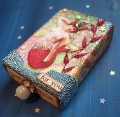 tiny mermaid matchbox drawer~would be awesome to decorate cereal boxes, cake boxes, etc. Matchbox Crafts, Matchbox Art, Tin Boxes, Cake Boxes, Cereal Boxes, Altered Tins, Altered Art, Arts And Crafts, Paper Crafts