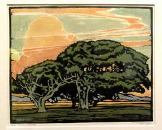 Del Monte Oaks, c.1920. Color woodcut William S. Rice