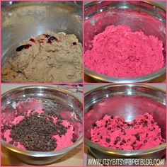 recipe for these pink Chocolate Chip Cookies . . . Fun idea to add food color for specific holidays.