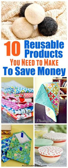 Disposable Products You Can Replace with Reusable Ones- You can save money and help the environment at the same time by making these DIY reusable products! They're so easy to make, and you can use your favorite colors! | environmentally friendly, eco friendly, frugal, sewing, ways to save money, wool dryer balls, cloth paper towels, unpaper towels, #diy #zerowaste #frugal #frugalLiving #saveMoney #moneySaving